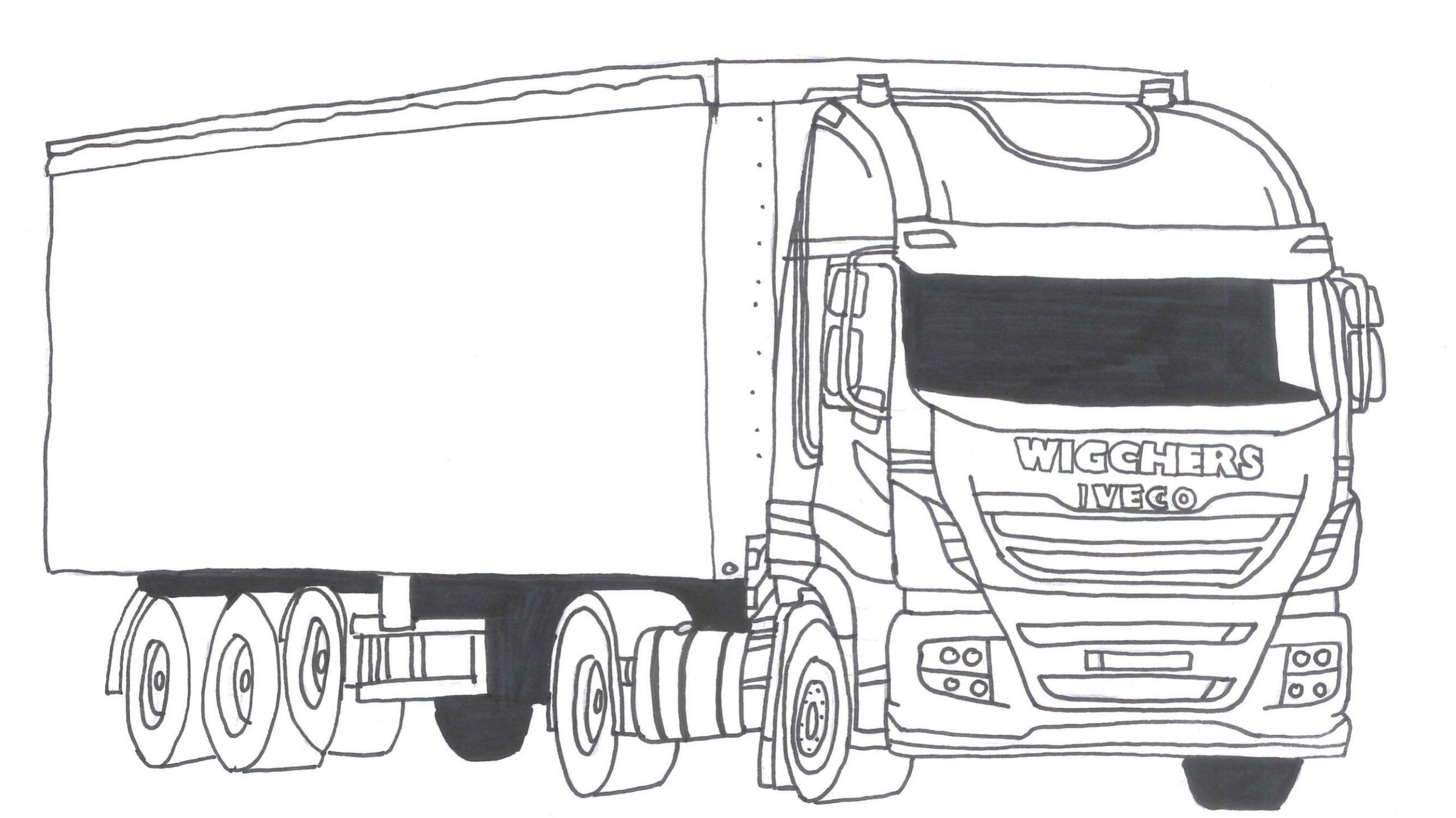 Kleurplaat Wigchers Vrachtwagen Iveco met huiftrailer