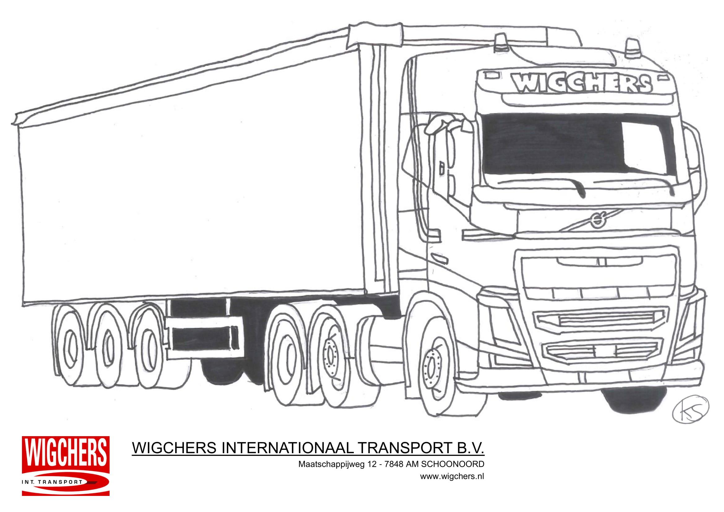 Kleurplaat Wigchers Vrachtwagen Volvo met huiftrailer